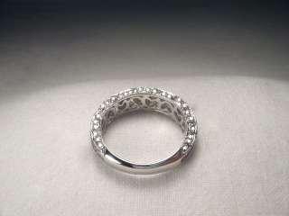 14K White Gold Diamond Filigree Eternity Wedding Band
