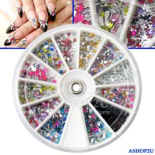 1500p Mix Shape Nail Art Glitter Tips Rhinestones Wheel