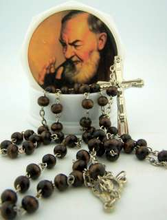 Wood Rose Scented Saint St Pio Rosary Necklace W Case Box Silver Cross