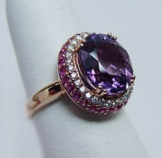 LEVIAN Amethyst Ruby Diamond Ring 14K Rose Gold Estate Jewelry