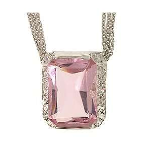 Silver Pink & White CZ Necklace Jewelry