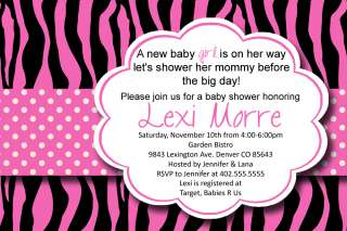 Custom Hot Pink Zebra Print Polka Dot Baby or Bridal Shower Invitation