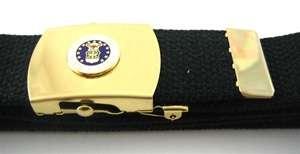 New US Air Force USAF Brass Buckle & Black Web Belt Set