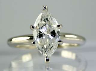 25CT MARQUISE DIAMOND 14K WHITE GOLD SOLITAIRE ENGAGEMENT RING $