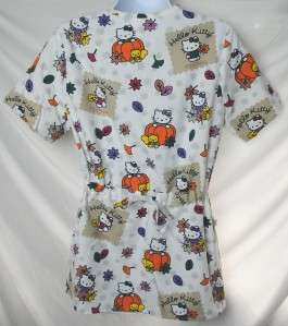 SANRIO HELLO KITTY Medical Scrub Top   Fall Pumpkin   S