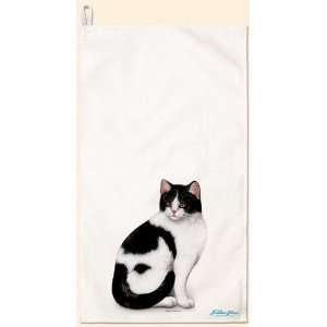 Black & White Tabby Cat Flour Sack Towel