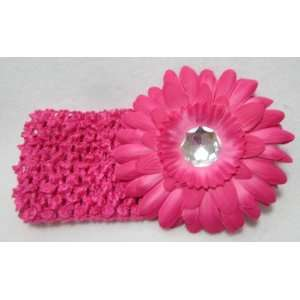 NEW Pink Daisy Flower with Jewel Crochet Headband, Limited
