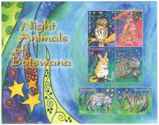 Botswana MNH Stamps Night Animals, birds S/S Fauna 2010