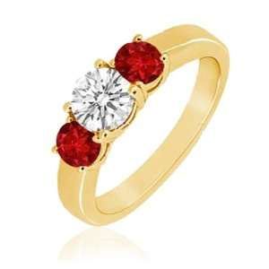 Clarity,Pigeon Red Color) Three Stone Ring in 14K Yellow Gold.size 7.5