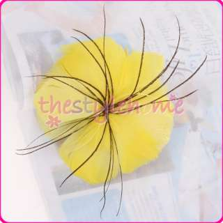 Yellow Pretty Feather Hair Flower Headdress Brooch Costume Party favor