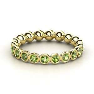 Pod Eternity Band, 14K Yellow Gold Ring with Green