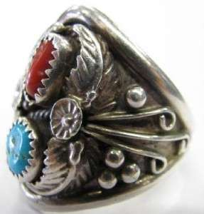 Old Pawn Signed L Navajo Handmade Sterling Silver Turquoise Coral Ring