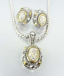 Designer Style Silver Cable Gold Pave CZ Crystals Pendant Necklace