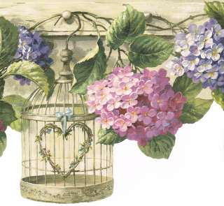 DIE CUT BIRD CAGES HANGING FROM HOOKS & FLOWERS Wallpaper bordeR Wall