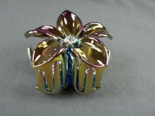 Rainbow shimmer plumeria hawaiian flower barrette hair clip claw clamp