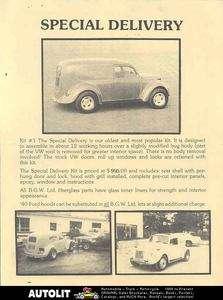 1970 BGW VW Beetle Speedster Kit Car Brochure 1940 Ford