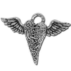 39mm Green Girl Flying Heart Pewter Charms Arts, Crafts