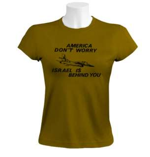 America dont Worry women T Shirt funny hebrew usa idf air force army