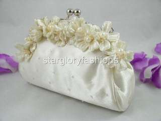 Cute Ivory/Cream Flower Pearl Wedding Prom Clutch Purse