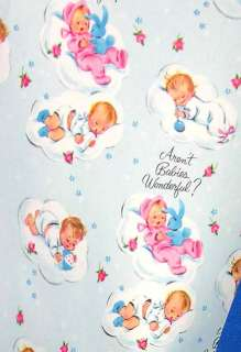 SHEET VTG 1950 GIFT WRAP PAPER BABY SHOWER/CRAFTS,CARD MAKING