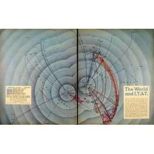 1945 Print I T T World Map Richard Edes Harrison Radio