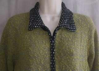 ICELANDIC DESIGN Womens Lg Olive Green Black Zip Cardigan Sweater