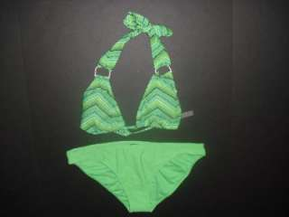 NWT Old Navy Womens Juniors Green Stripe Bikini Swimsuit Size Large L