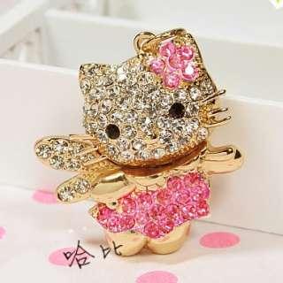 Swarovski Crystal Hello Kitty Key Chain Ring  cat pink 01