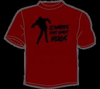 ZOMBIES WANT HUGS T Shirt MENS funny zombie eat flesh