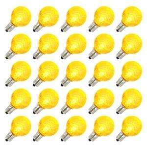 G30 Candelabra Screw Base Yellow LED Faceted 25 Pack Christmas Light