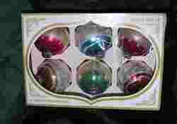 GORGEOUS VTG LARGE SET 6 SHINY BRITE CHRISTMAS GLITTER ORNAMENTS IN