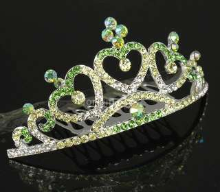 Noblest Green Swarovski Crystal Rhinestone 3 Hearts Crown Tiara Small