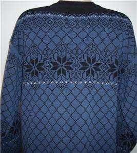 Wear Nordic pewter button cardigan sweater made in Norway wool blue L