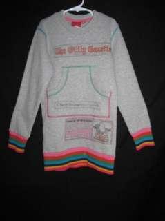 Rare Oilily Gazette Gray Sweatshirt Style Long Sleeve Pocket Dress 140
