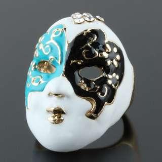 Masquerade Ball Japan Geisha Mask Fashion Party Enamel Multicolor Ring