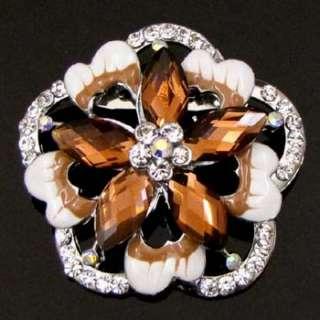 ADDL Item  1pc rhinestone crystal glazed flower brooch
