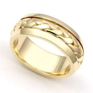 Gold 6.5mm Hand Braided Wedding Band Ring, 9.5 Juno Jewelry Jewelry