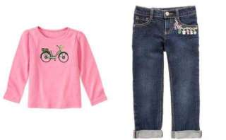 NWT Gymboree SMART GIRLS RULE Bicycle Top & Charm Jeans