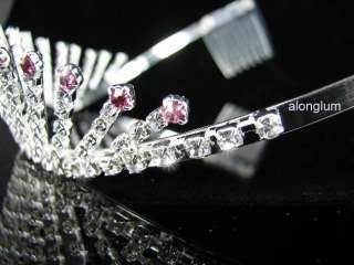 A51 1 Pink Wedding Bridal Bridesmaid Party Swarovski Crystal