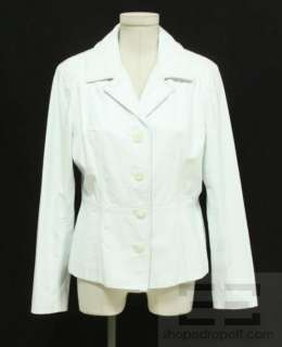 White Leather Button Front Jacket Size Medium