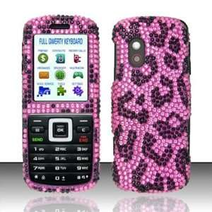 PINK LEOPARD Hard Plastic Rhinestone Bling Case for Samsung T401g