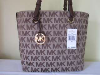 MICHAEL KORS Brown ITEMS GRAB BAG Tote Handbag Purse