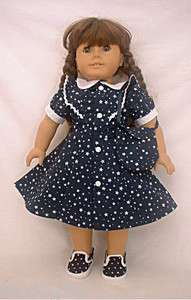 Navy Blue Stars Dress + Purse Molly Kit JLY American Girl Doll