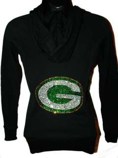Green Bay Packers Bling Womens Thermal Hoodie Sm 3X