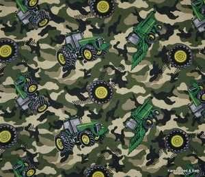 John Deere Farm Tractor Green Camo Camouflage Print Curtain Valance