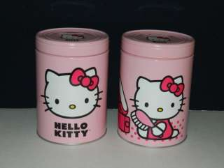 Hello Kitty Playing Inside Large Round Illustrated Tin Coin Bank, NEW