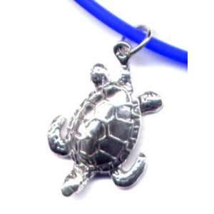 Blue Sea Turtle Ankle Bracelet Sterling Silver Jewelry