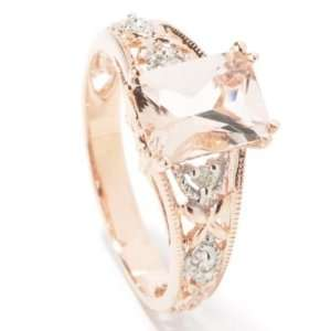 14K Rose Gold Morganite & Diamond Ring Jewelry
