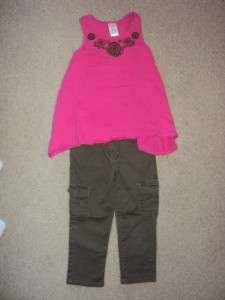 Childrens Girls Size 5 Gymboree Outfit pink green pants tank top adj