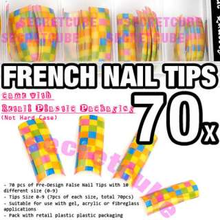 Multi Color Airbrush Design French False Nail Acrylic Tips x 70